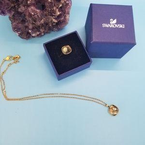 Swarovski Crystal Gold & Topaz Necklace & Ring